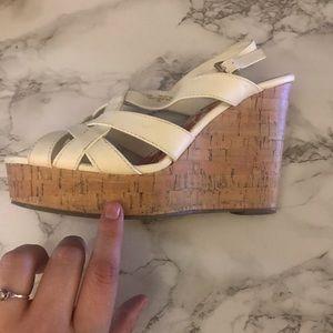 Madden Girl Shoes - Madden Girl White Sandal Platform Cork Wedges 10